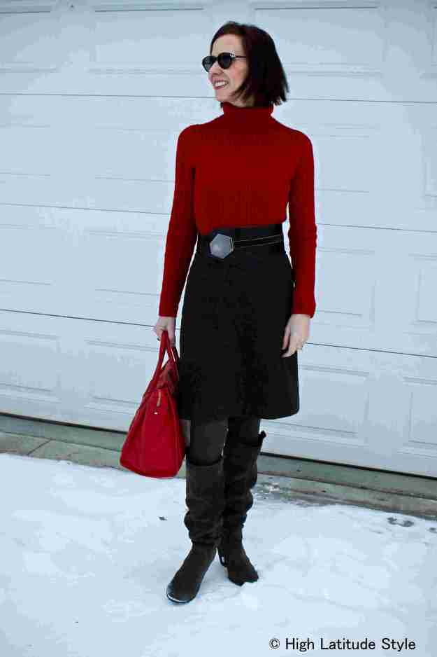 #fashionover50 Winter office outfit idea to wear when dressing at the last minute