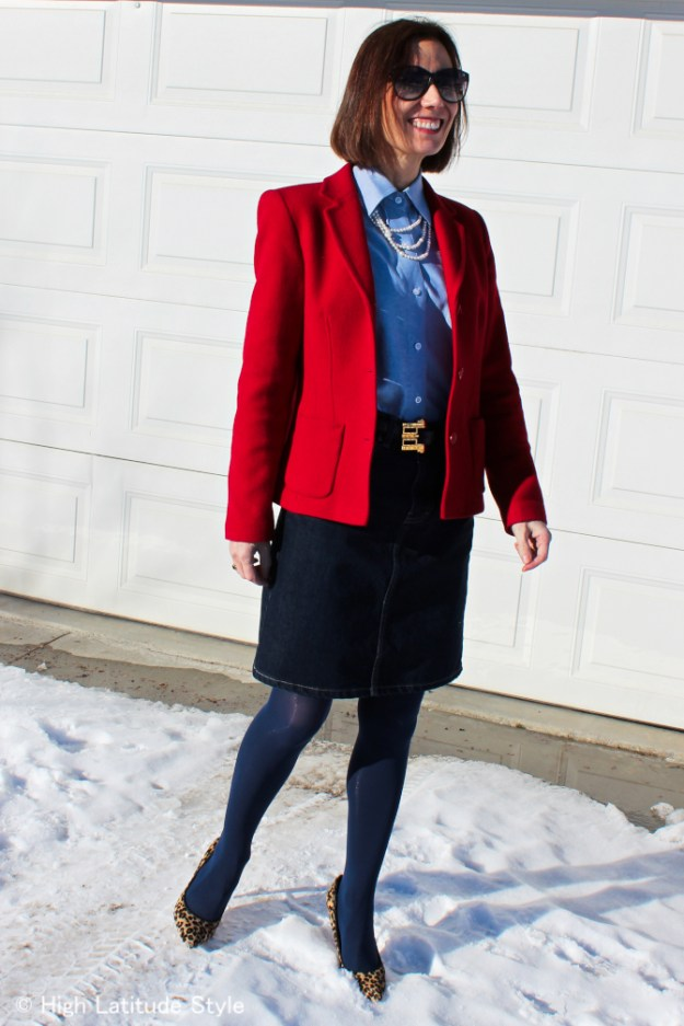 stylist in classic office outfit with blazer and skirt