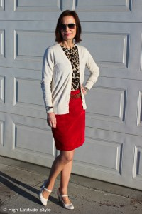 #fashionover40 Style blogger Nicole in office look with layering of a leopard print top under a cardigan