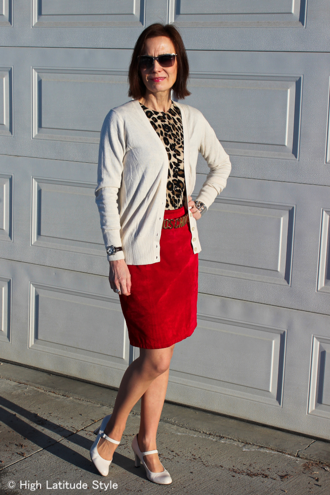 style book author featuring a look with 2 cardigans with the suede skirt