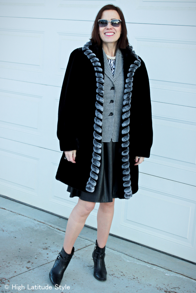 hounds tooth faux fur