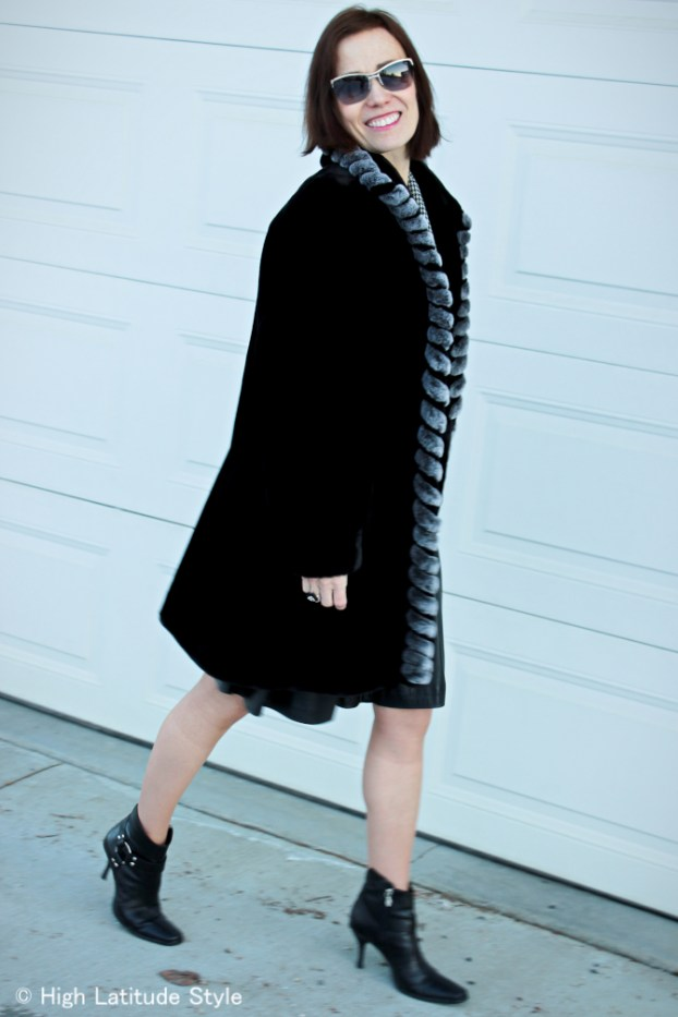 #advancedfashion Winter black and white look for mature women