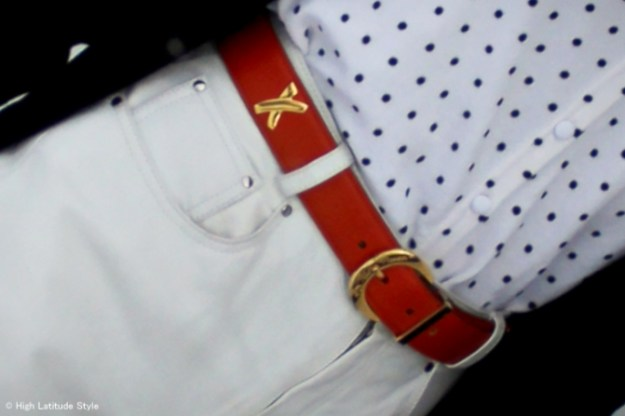 #accessories ornage Paloma Picasso belt for a pop of color on a rainy day