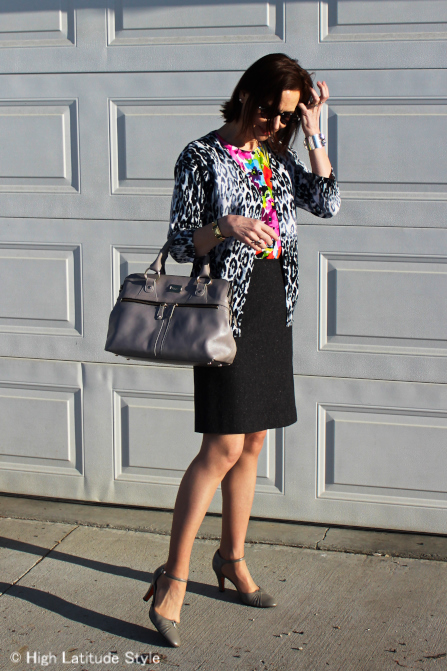 mature woman in leopard and floarl print outfit
