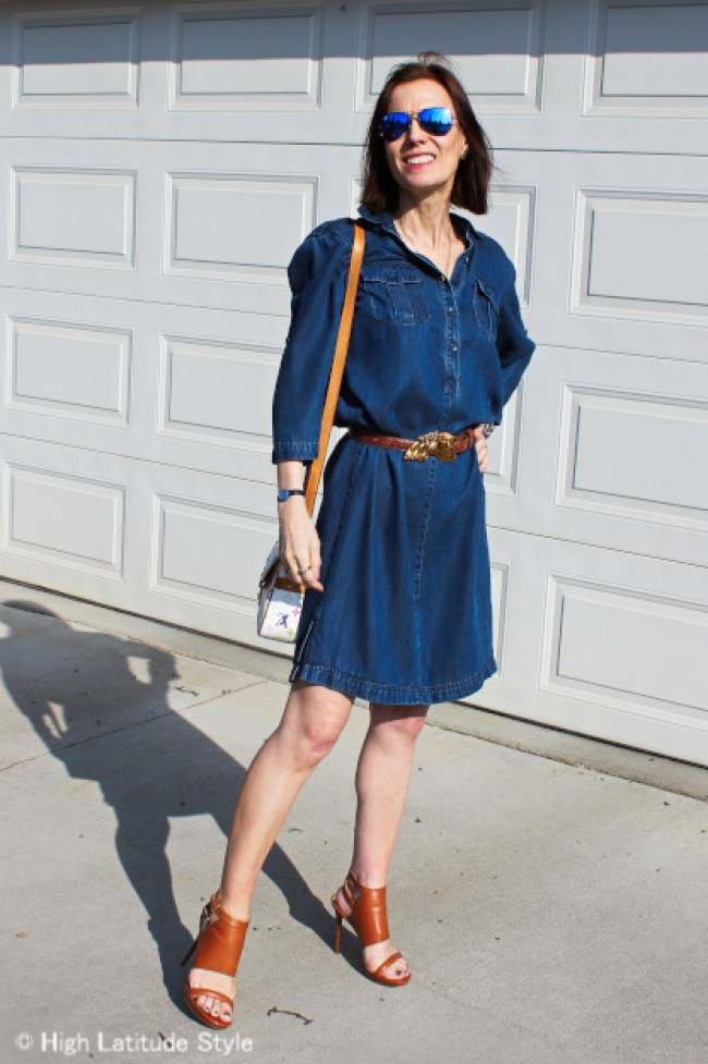 #fashionover50 denim dress with cool looking sandals