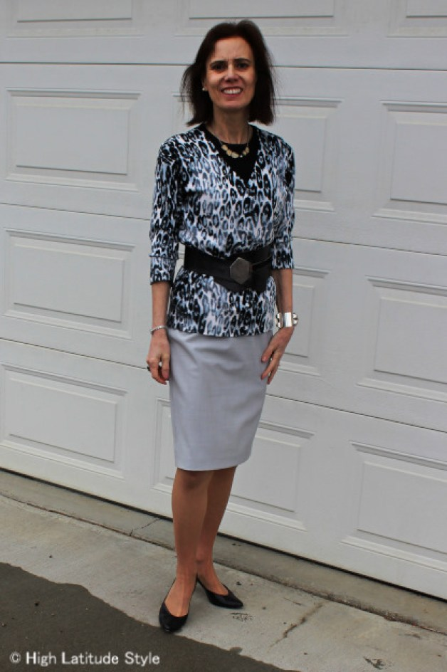 #midlifestyle woman in Euro Chic snow leopard cardigan, pencil skirt, pumps