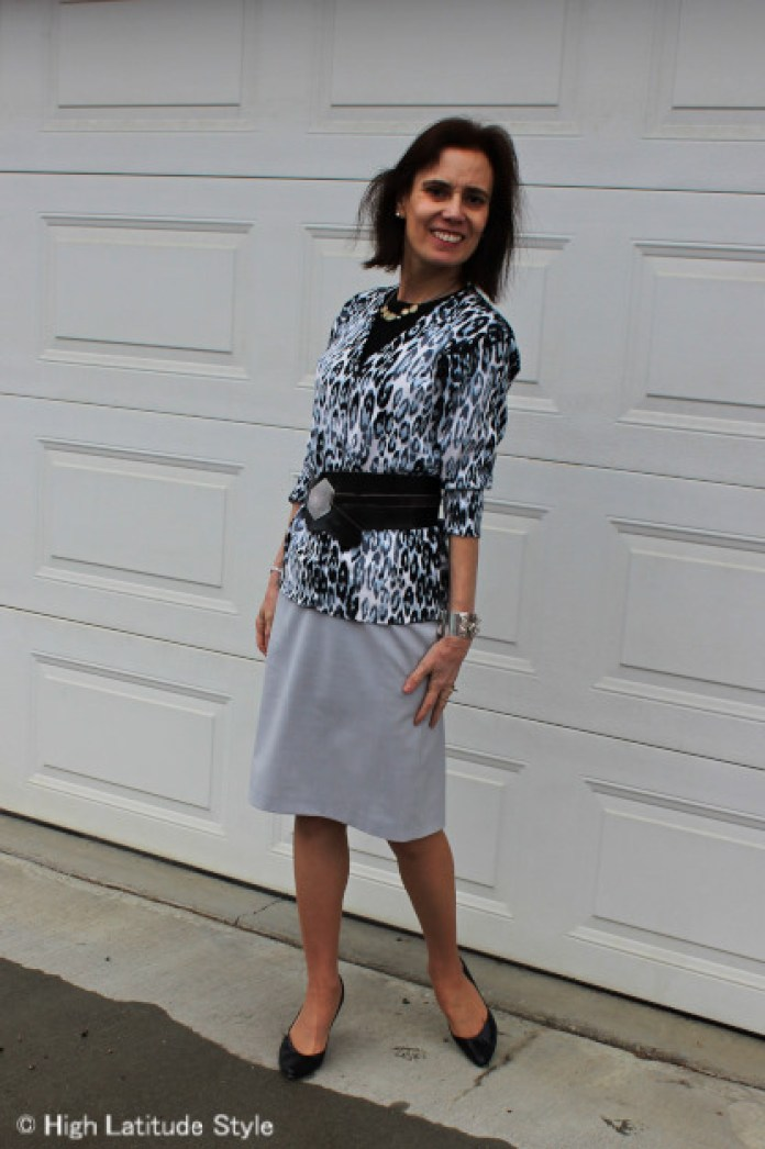 #advancedstyle work attire with snow leopard cardigan, pencil skirt, statement belt