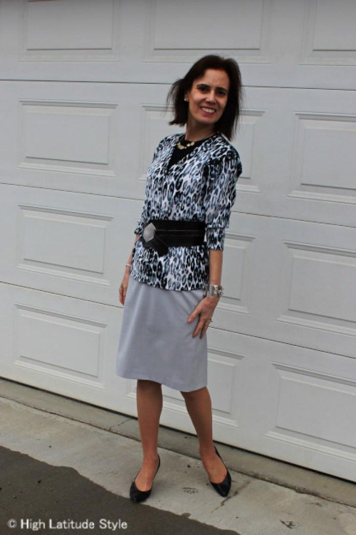 work attire with snow leopard cardigan, pencil skirt, statement belt