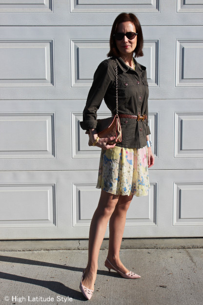 yellow pastel floral skirt with blush pointy toe slingbacks, Chanel bag styled with olivegreen
