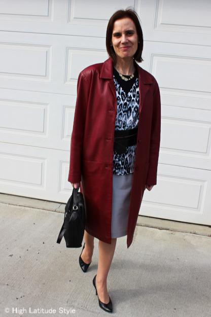 #leather coat, #snowleopard cardigan, #pencil skirt, #Statement belt