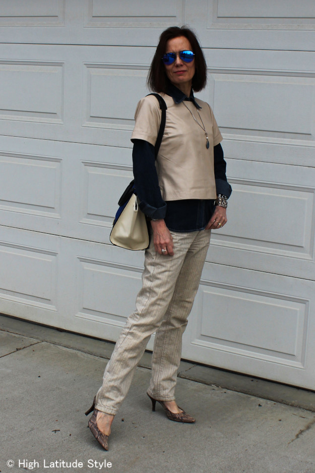 #fashionover40 woman in Casual Friday look with leather top
