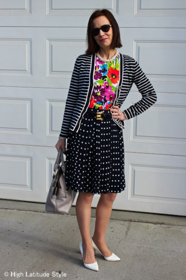 #fashionover50 style blogger mixing strips, dots, and floral prints