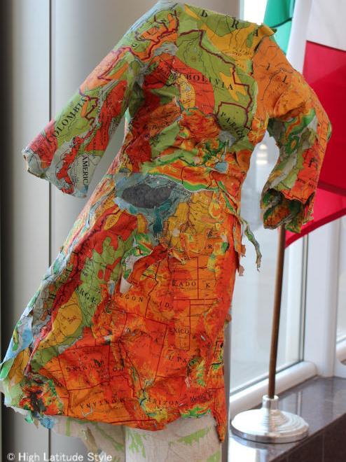 Art in Alaska paper dress from maps