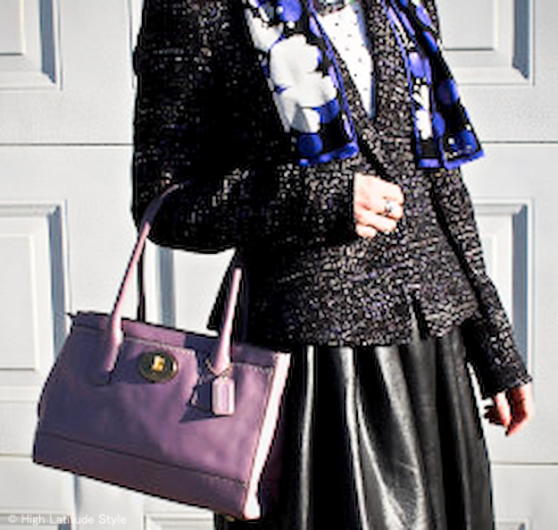 purple print silk scarf, full leather skirt coach bag, tweed blazer