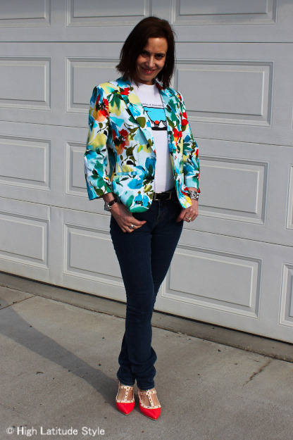 #advancedstyle midlife woman donning a chic college top