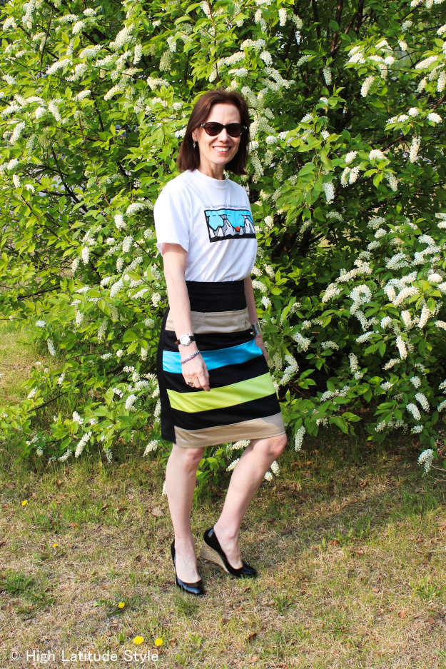 #eShakti #over40fashion woman wearing a skirt with Tee