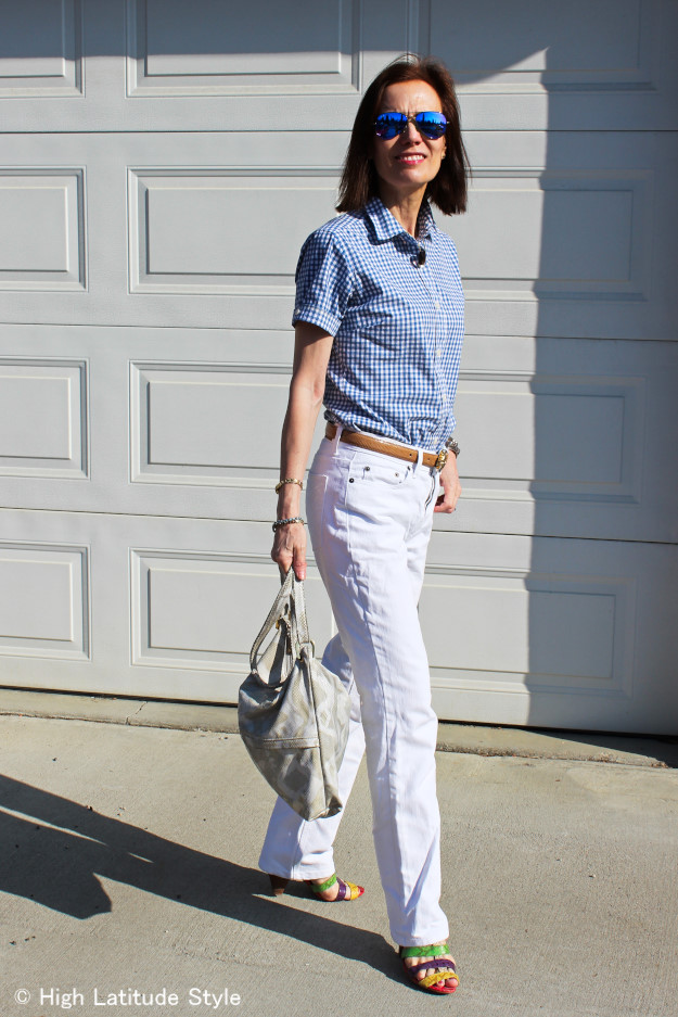 gingham blouse and white boyfriends for Casual Friday