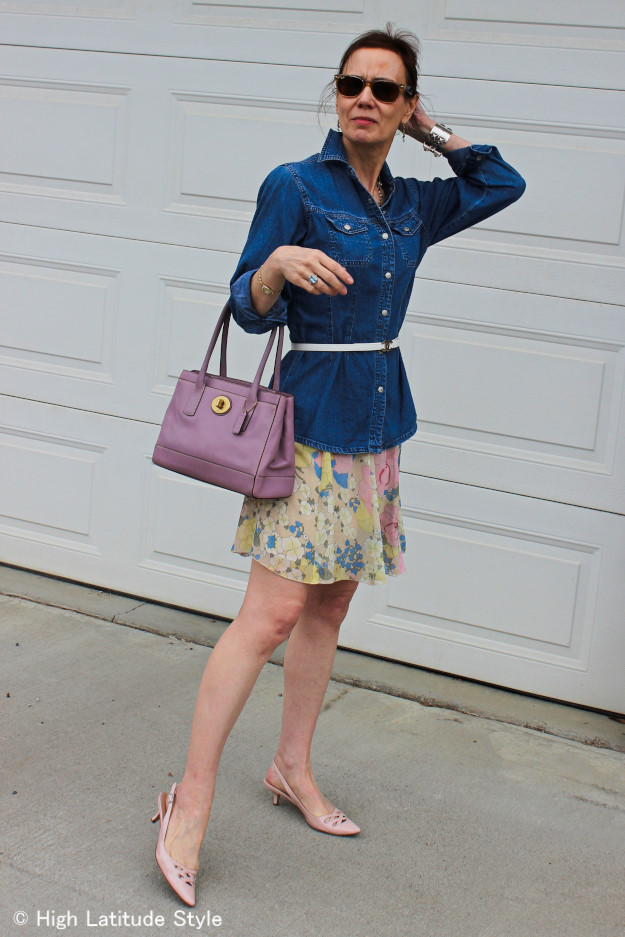 Alaskan woman in a layered pastel outfit to avoid looking old