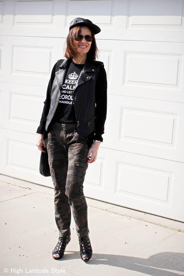 #fashionover40 style blogger in cargo pants and 50% off leather motorcycle vest