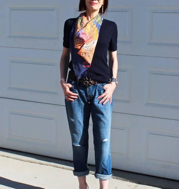 #LoftBFjeans #paintedSilkScarf #silverPumps http://www.highlatitudestyle.com