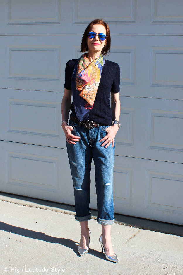 fashion blogger Nicole in BF jeans, painted Silk Scarf, silver Pumps