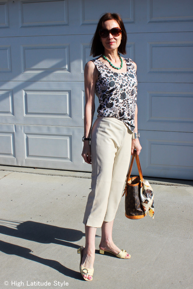 #leatherCapriPants #floralPrintTop mature woman in capri and floral print top
