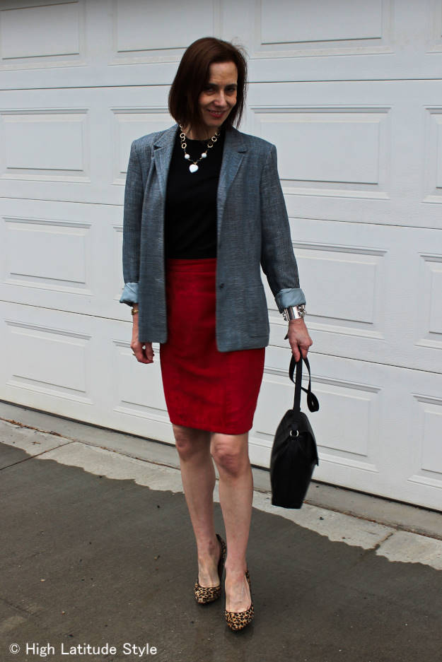 posh chic midlife woman in suede skirt and linen blazer