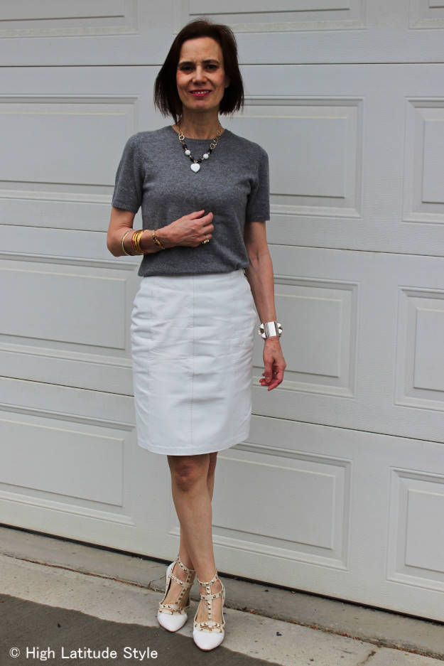 #AlmoJewllery mature woman in all neutral work outfit
