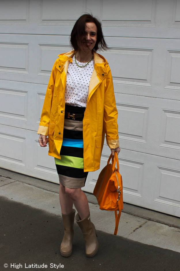 #over40fashion #eShakti  #HHraincoat #pliageBag http://www.highlatitudestyle.com