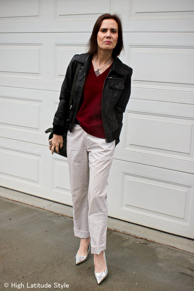 Alaskan blogger in chinos with leather bomber jacket