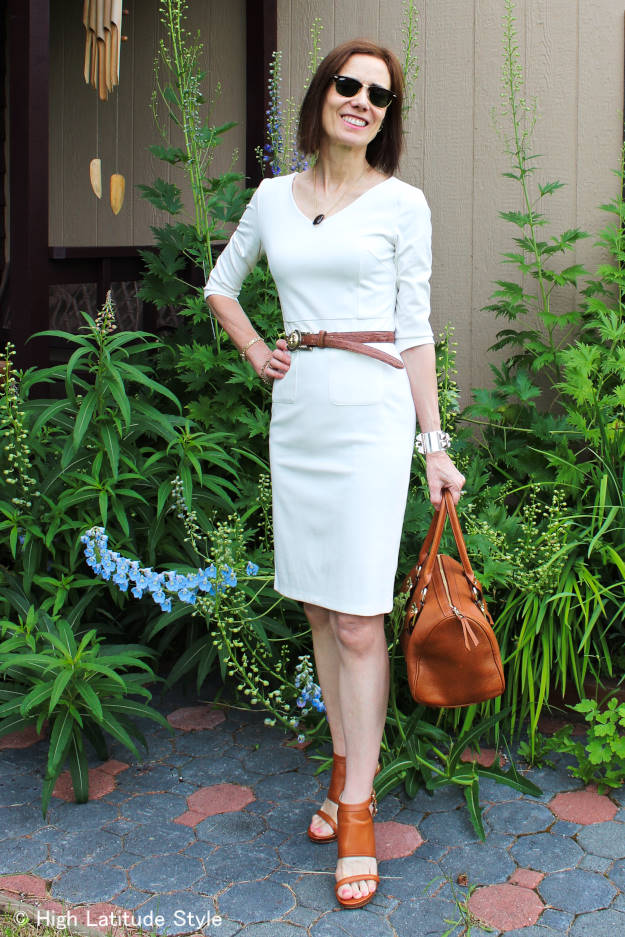 blogger of High Latitude style in a body concious sheath summer dress