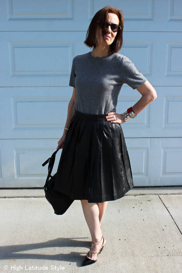 fashion blogger in full leather skirt