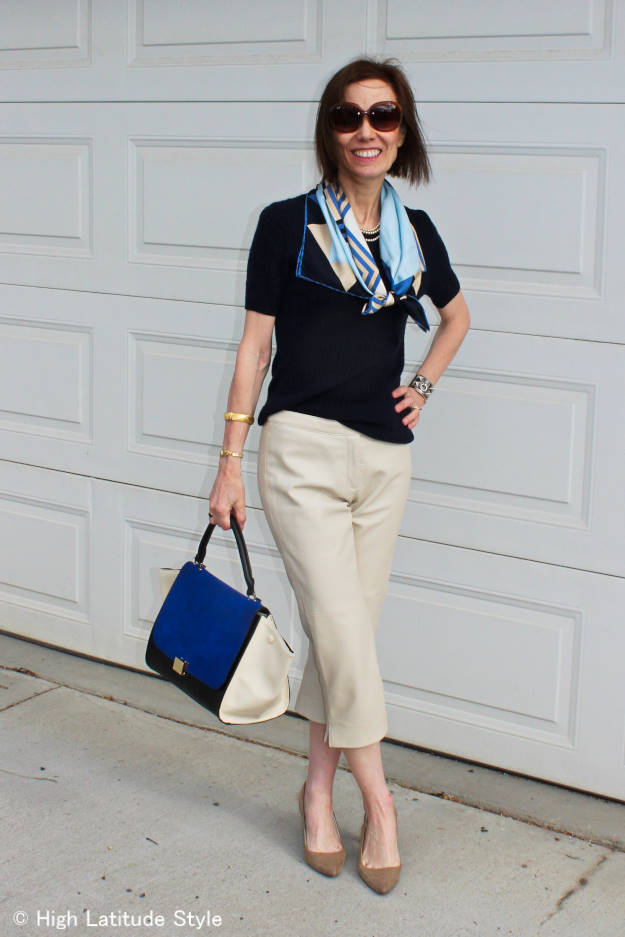 mature weekend look with leather capri