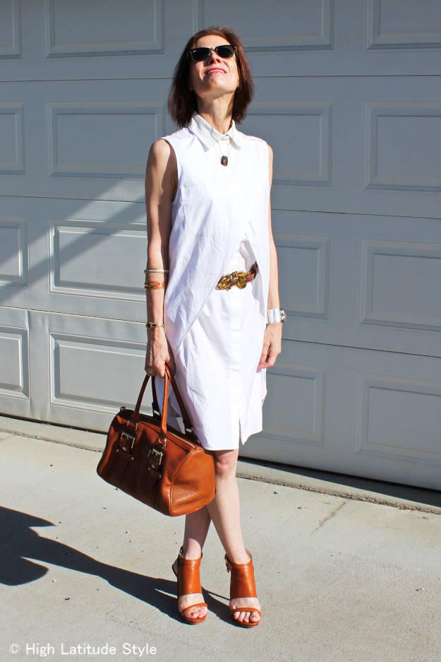 #fashionover50 woman in white Alexander Wang dress