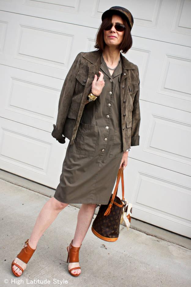 military Shirtdress  streetstyle over 50  High Latitude Style http://www.highlatitudestyle.com