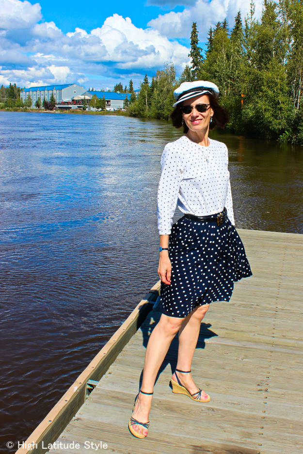 fashion blogger in polka dot skirt and cardigan