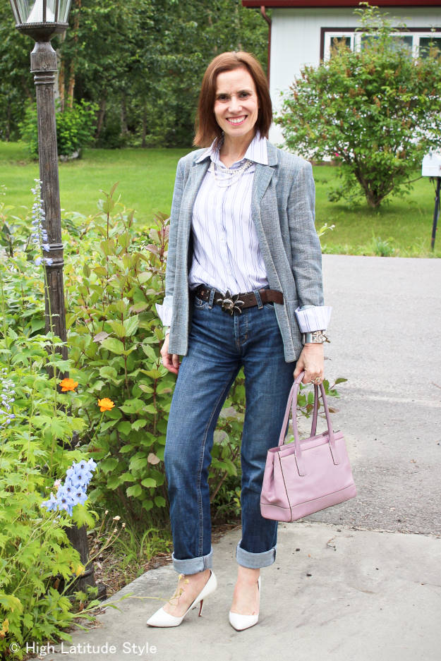 mature woman wearing boyfriends in a business casual style