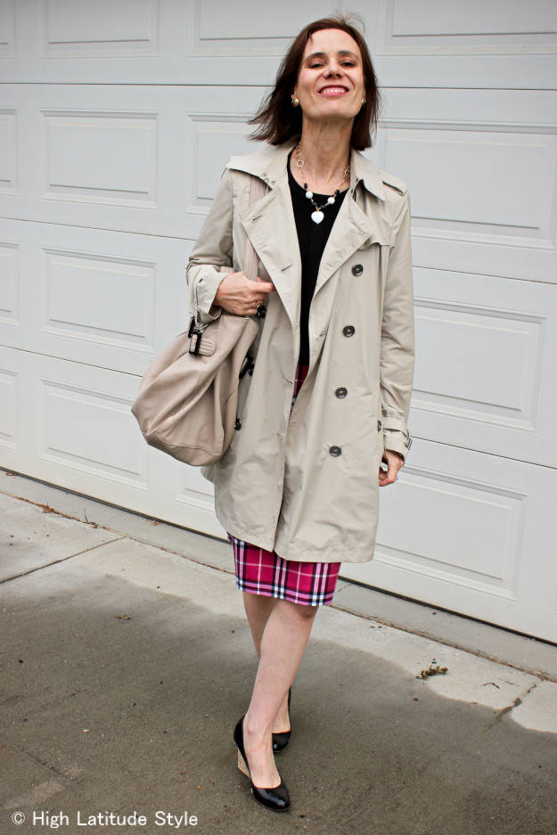 #over40 #AlmoJewellery mature woman in Burberry pink plaid skirt with striped cardigan and jade and onyx necklace