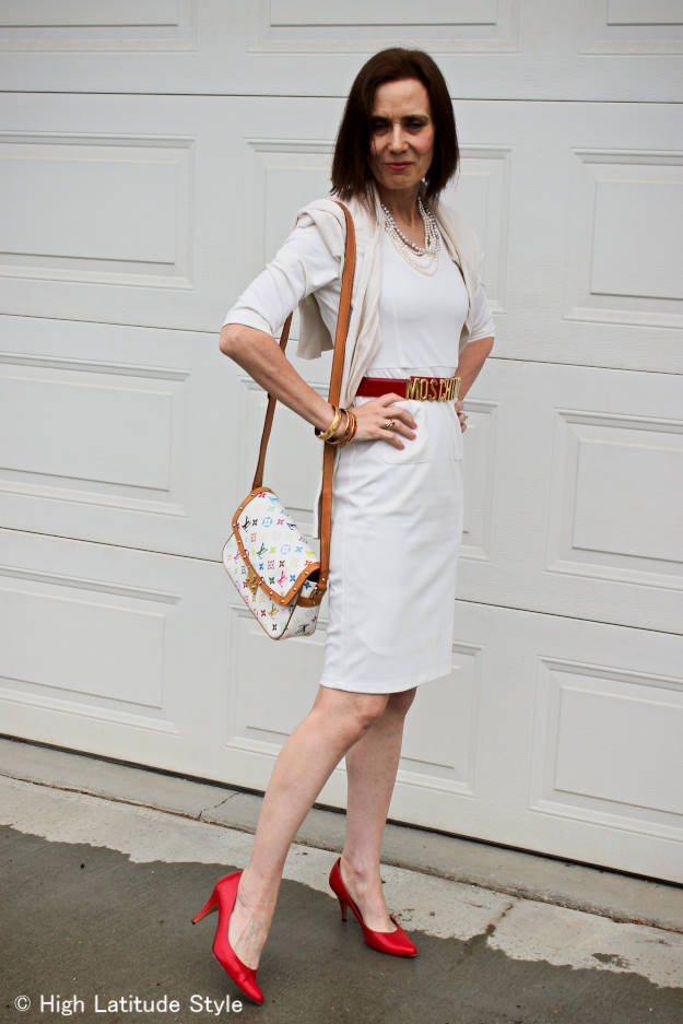 fashion over 50 mature woman in a body conscious dress