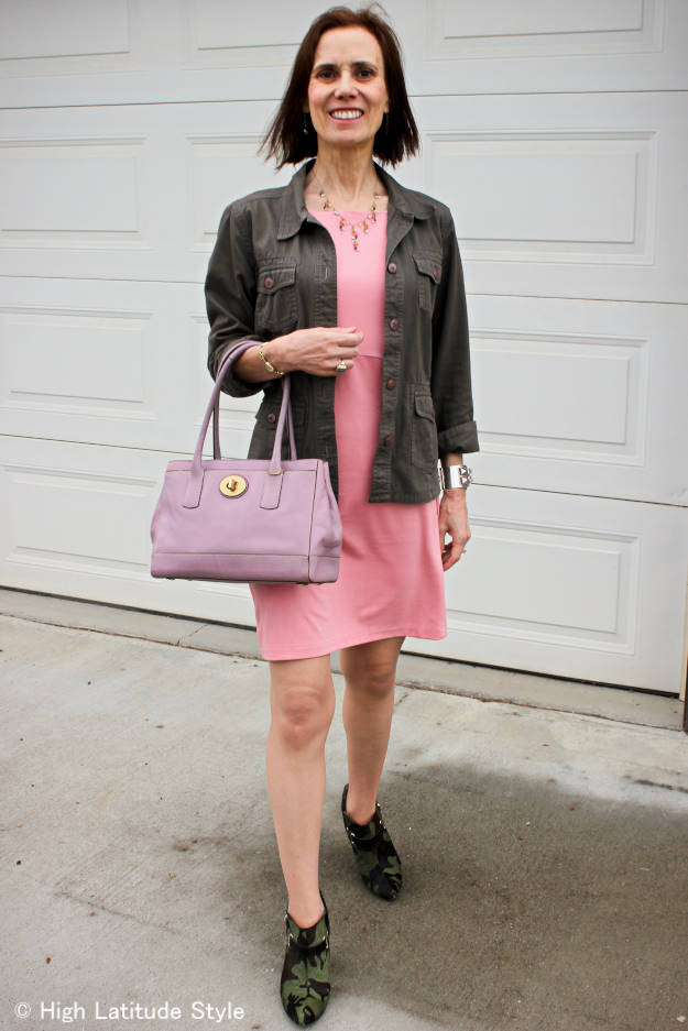 midlife fashion blogger in pink and olive business casual look