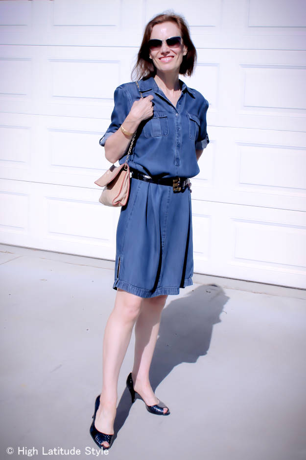 fashion blogger Nicole of High Latitude Style looking posh casual in a denim dress