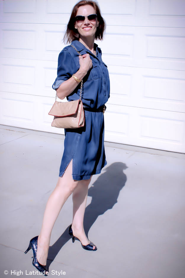 blogger in denim shirt dress
