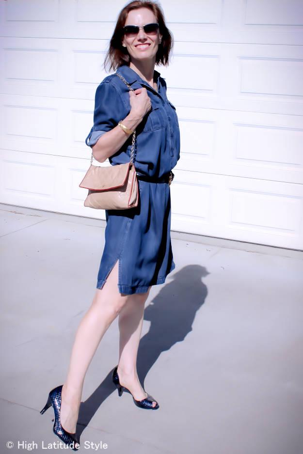 blogger in denim shirt dress