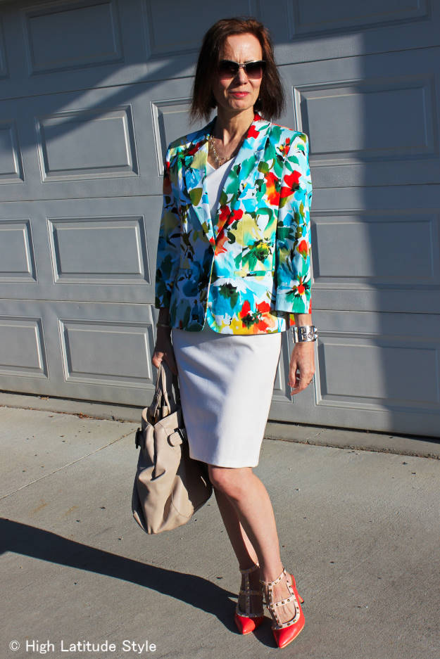 mature woman in summer outfit