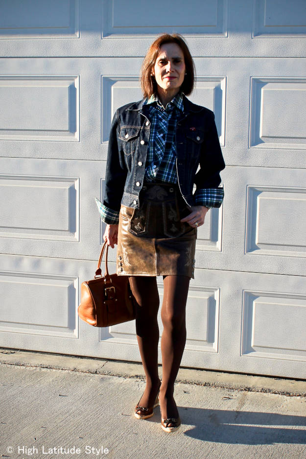 over50fashion woman in heritage inspired outfit