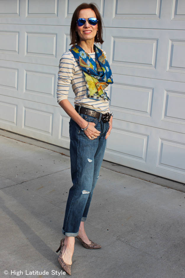 Marine Layer Striped T-shirt with distressed jeans and pumps