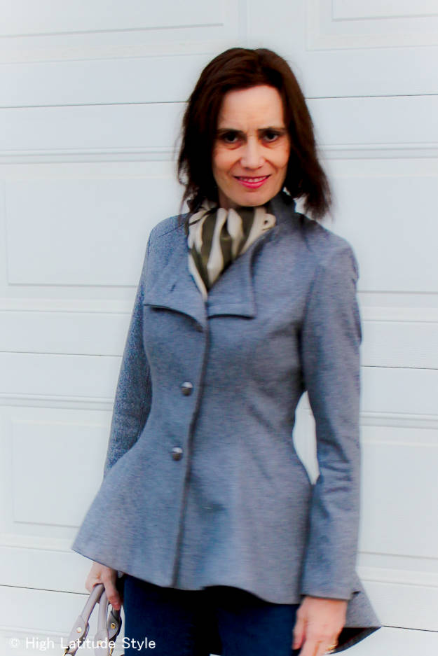 over 50 years style blogger in asymmetric blazer with jeans