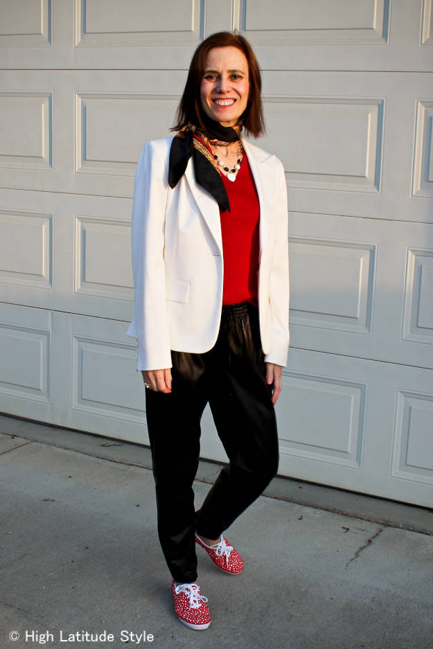 #fashionover50 midlife woman in posh casual Friday work outfit with blazer, joggers and Keds