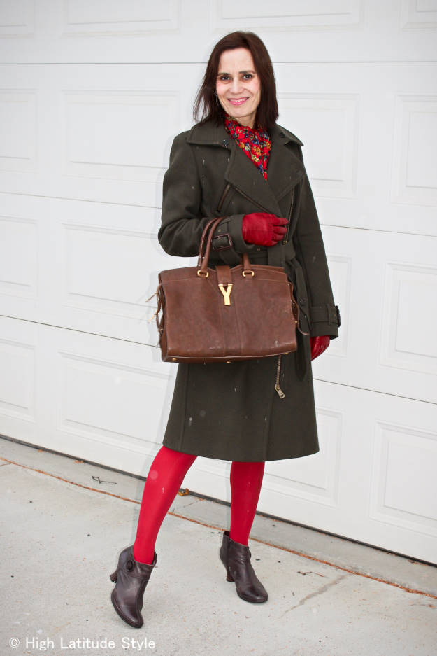 midlife woman in posh chic styled winter outerwear