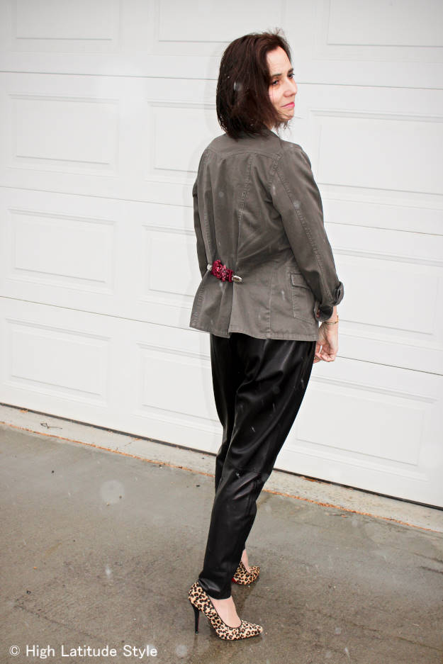 woman wearing an utility jacket with DIY clip